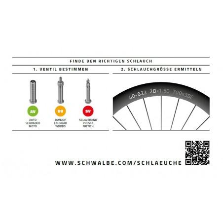 """Schwalbe 20"""" Fahrradschlauch 40-62x406 mm, AV7, SV7, DV7"""